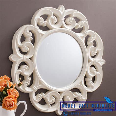 Cermin Ukiran Jepara bingkai cermin dinding ukiran bundar mebel jati minimalis