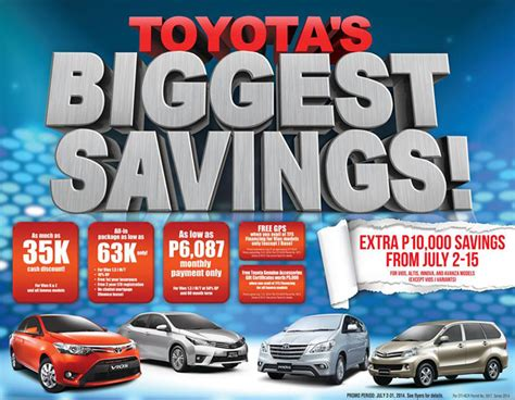 Toyota Discount Toyota Motor Philippines Offers Big Savings This July