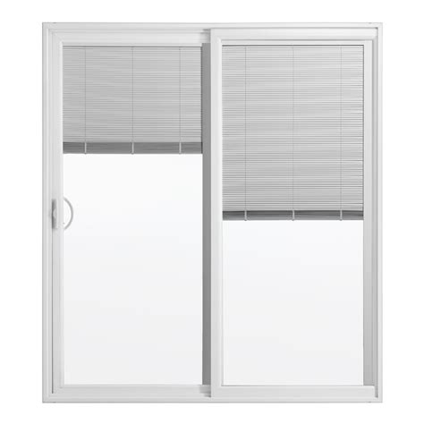 Sliding Patio Door With Blinds Reliabilt Blinds Between The Glass Vinyl Sliding Patio Door Screen Included Lowe S Canada