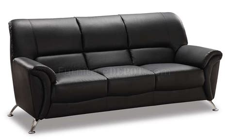 U9103 Black Vinyl Leather Modern Sofa W Chromed Metal Legs
