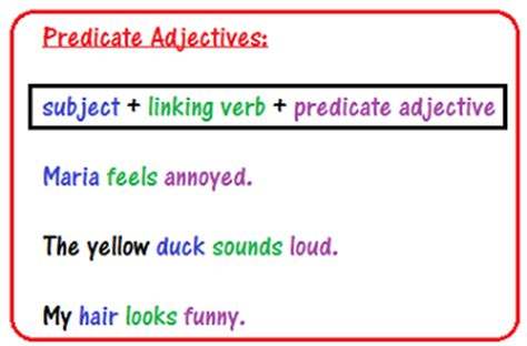 sentence pattern exles asv what is a predicate adjective definition exles