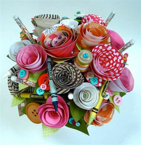 Paper Craft Flowers Bouquet - 50 craft ideas from paper fresh design pedia