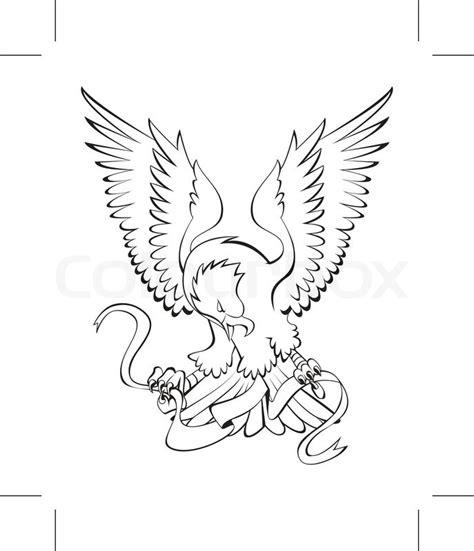 traditional eagle tattoo vector eagle ribbon stock vector colourbox