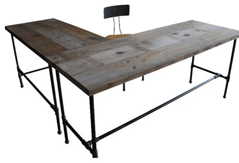 Modern Industry L Shape Reclaimed Wood Desk Natural Reclaimed Wood L Shaped Desk