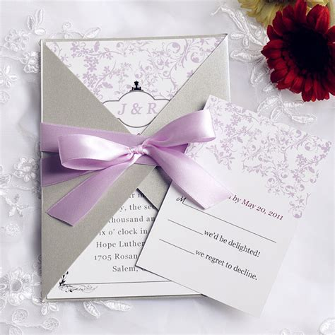 Wedding Invitations Ribbon by Pink And Gray Pocket Ribbon Wedding Invitations