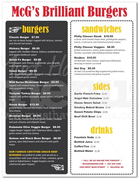Backyard Menu by Backyard Burger Menu Page 1