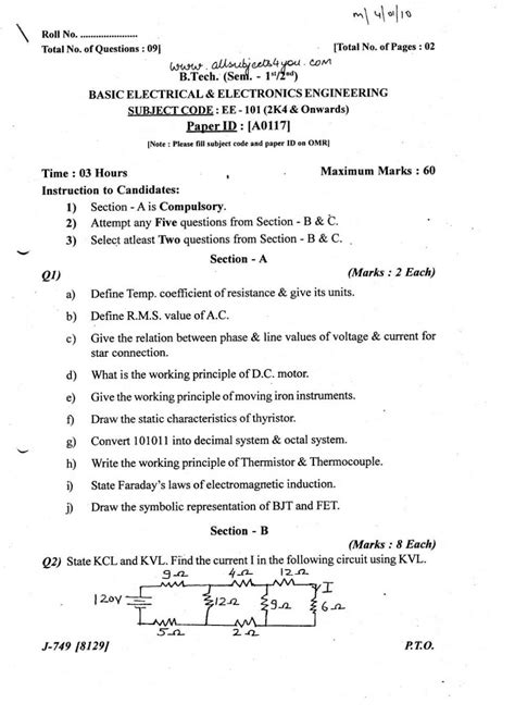 Drawing B Tech Question Papers by Electrical Drawing Question Papers Powerking Co
