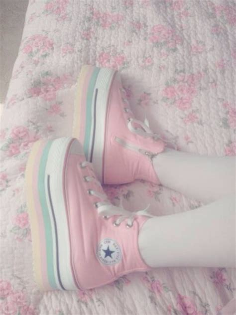 Sneakers Boots White Brukat Shoes Kawaii Japan Pastel Japanese Pastel