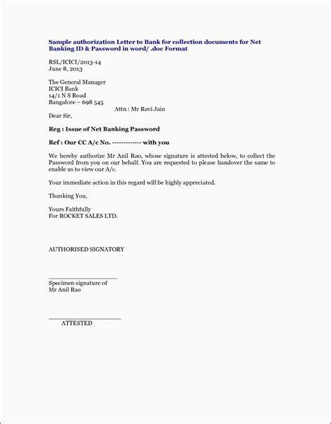 authorization letter template to bank bank letter format fresh bank authorization letter format