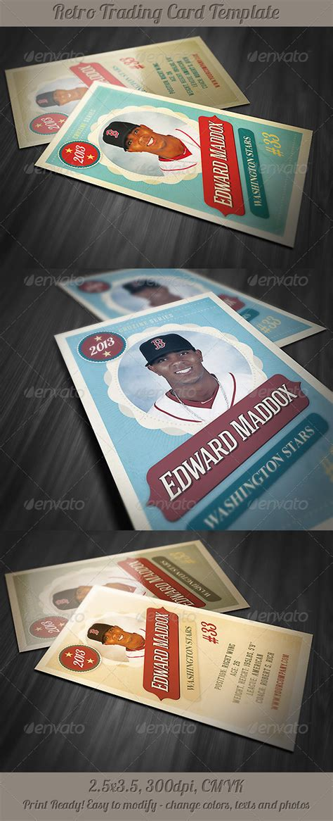 vintage trading card template retro trading card template 2 graphicriver