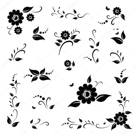 imagenes a blanco y negro de mariposas vector set of black flowers and leaves eps 10 stock