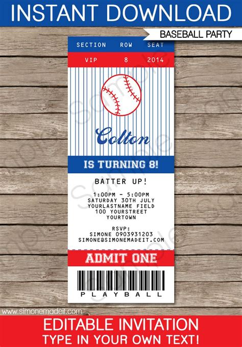 birthday ticket template baseball ticket invitation template birthdays helpful