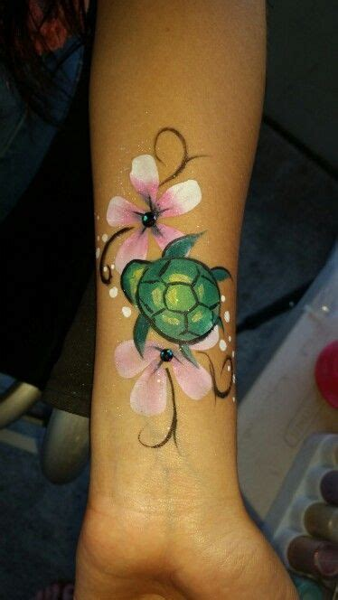 watercolor tattoos oregon turtle and pink hawaiian flowers and paint