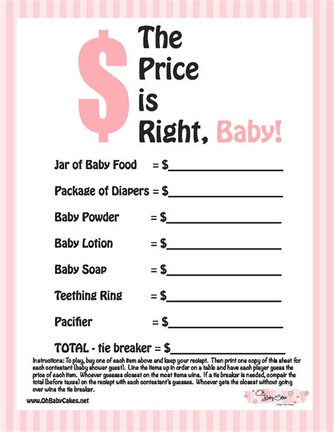 free printable price is right baby shower template 8 best images of price is right baby shower free
