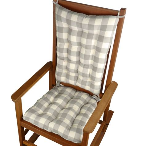 Rocking Chair Pad Set by Vignette Grey Buffalo Check Rocking Chair Cushion Set
