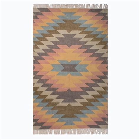 Kilim Outdoor Rug Faded Geo Indoor Outdoor Kilim Rug West Elm