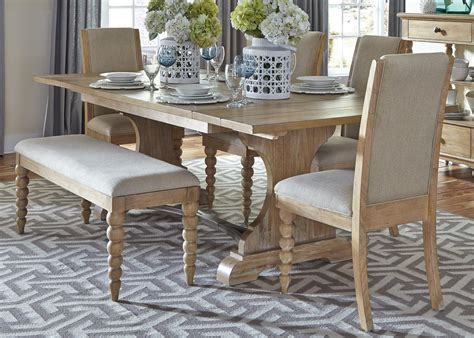 dining table chairs and bench set trestle table and 4 upholstered side chairs and dining bench set by liberty furniture