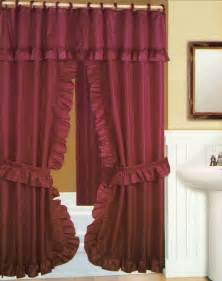 Home double swag shower curtain with liner set burgundy 70x72