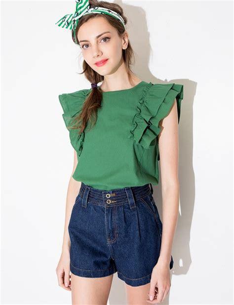 Ruffle Korea Top Blouse shirt top summer ruffle ruffle blouse top