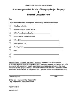 property receipt form template acknowledgement of receipt format fill printable