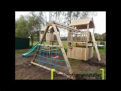 how to build a climbing frame with swing and slide play crazy double tower wooden climbing frame with swing