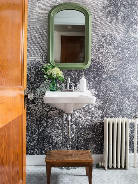 how to wallpaper a bathroom how to install wallpaper in a bathroom hgtv