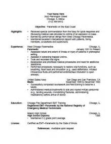 Paramedic Resume Template by Paramedic Resume Template Free Printable