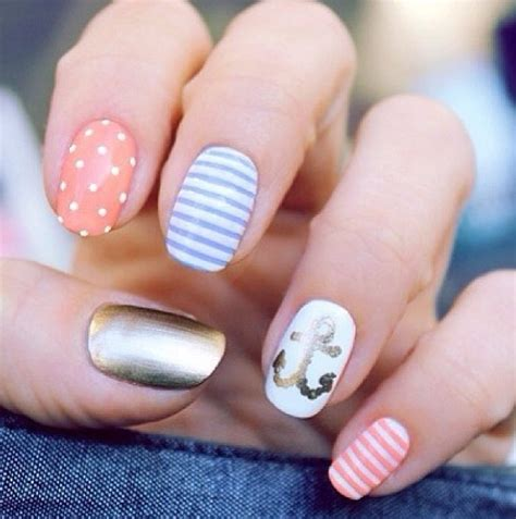 summer acrylic nail designs with anchor super cute summer nails with anchor nails jewelry