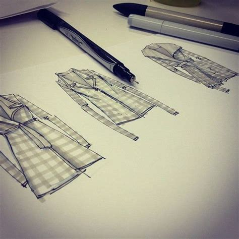 Inspect Sketches B And D by Sweater Sketches Check Marker And Ink Fashion Design
