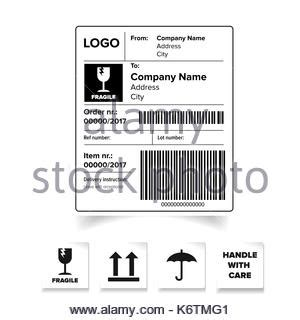 barcode label template fragile packaging label or sticker vector stock vector