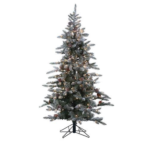 flocked mckinley pine pre lit full christmas tree by