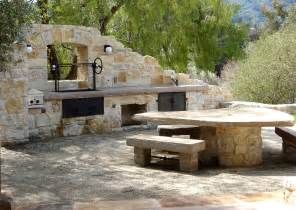 Crushed Granite Backyard Rustic Outdoor Kitchen Patio Mediterranean With Barbecue
