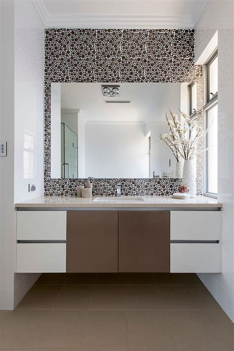 iridescent tile backsplash Bathroom Contemporary with