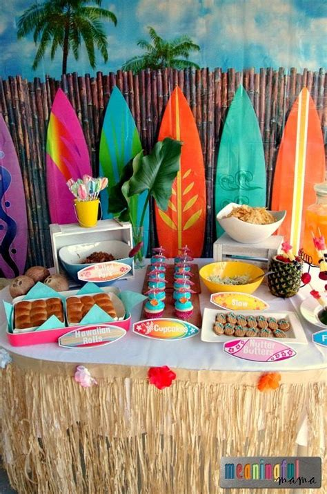 hawaiian table decorations ideas free printable moana birthday invitation and party ideas