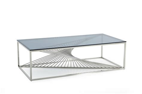 Glass And Stainless Steel Coffee Table Modrest Modern Glass Stainless Steel Coffee Table