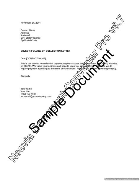 Credit Follow Up Letter collection letter follow up lawyer au