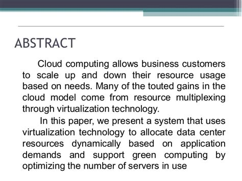 Green Computing Research Project Essays by Dynamic Resource Allocation Using Machines For Cloud Computin
