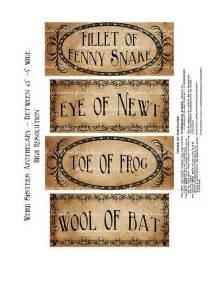 macbeth witch apothecary labels halloween digital download