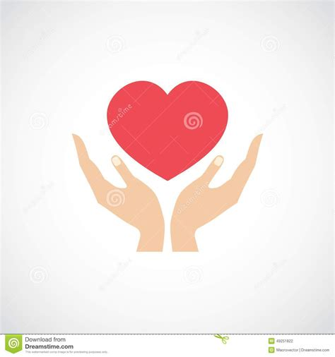 images of love symbol in hands hand hold protect heart stock vector image 49251822