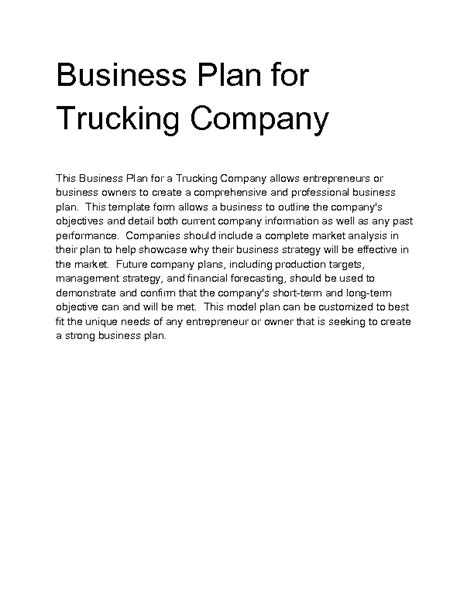 trucking business plan template free general freight trucking business plan sle executive