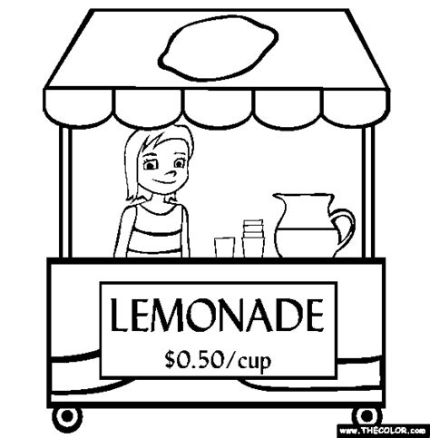 lemonade stand online coloring page appetizers pinterest