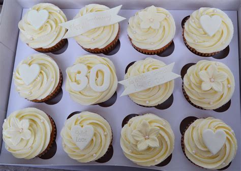 Wedding Anniversary Cupcakes by Paper Cakes Pearl Wedding Anniversary Cupcake Gift Box