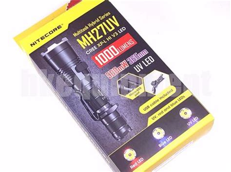 Senter Led Nitecore Mh27uv Ultraviolet Cree Xp L Hi V3 1000 Lumens nitecore mh27 uv cree xp l hi v3 blue uv 365nm led
