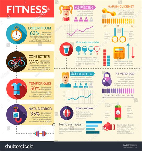 Fitness Vector Modern Infographic Flat Design Stock Vector 578899378 Shutterstock Fitness Infographic Template