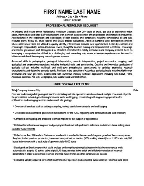 Cover Letter For Geologist Professional Petroleum Geologist Resume Template Premium Resume Sles Exle