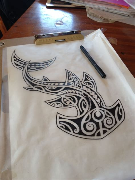 polynesian shark tattoo darryll richards sketch shark hammerhead polynesian