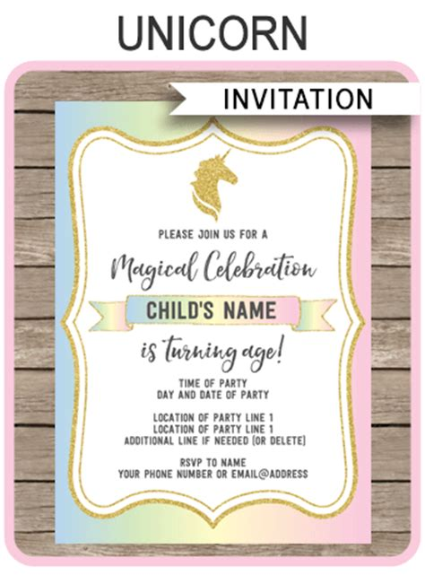unicorn invitations template unicorn theme birthday