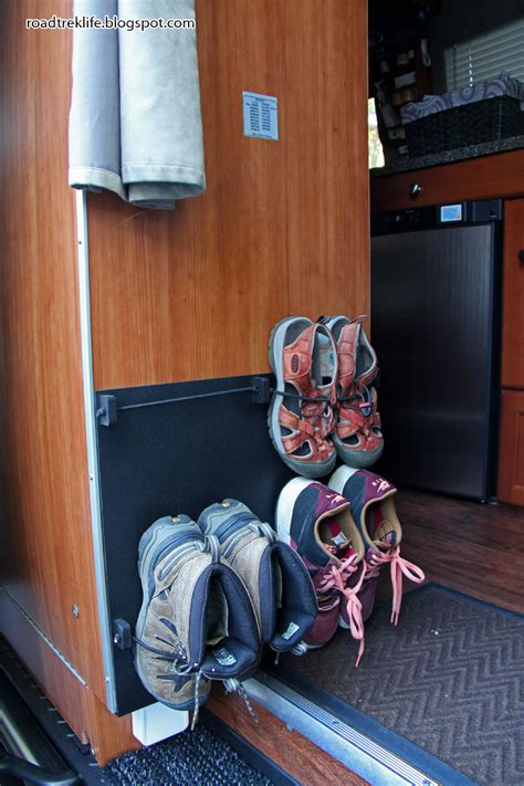 rv shoe storage roadtrek modifications mods rv upgrades modificatios