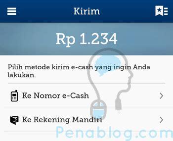 bca e cash transfer e cash ke rekening bank selain mandiri apakah