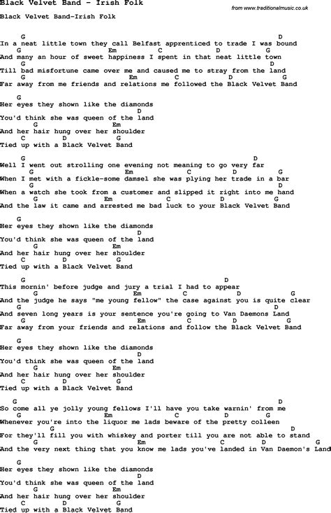 black velvet lyrics song black velvet band by irish folk song lyric for vocal